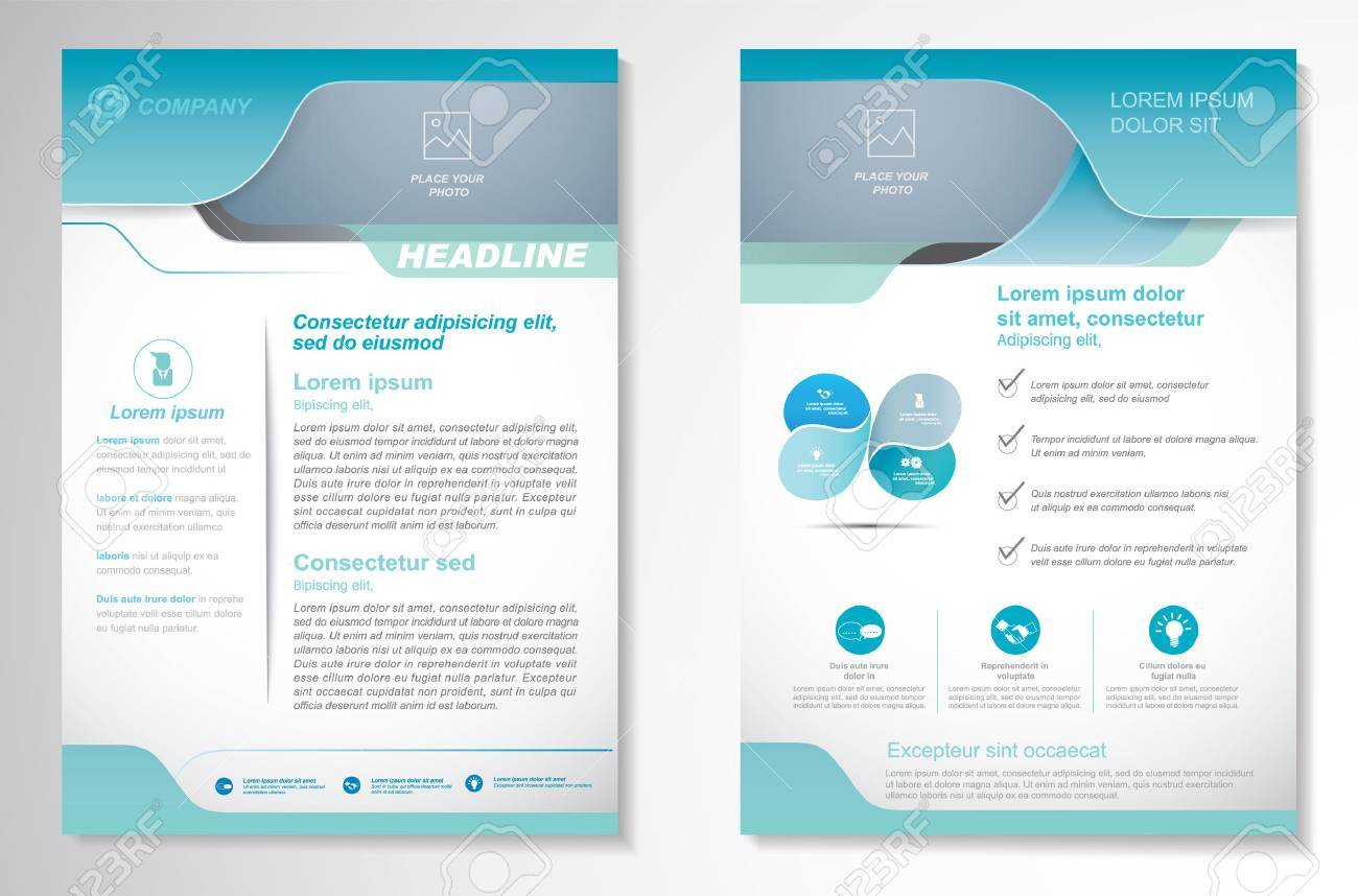 Brochure design Layout template, size A4, Front page and back page, infographics. Easy to use and edit. - 56479237