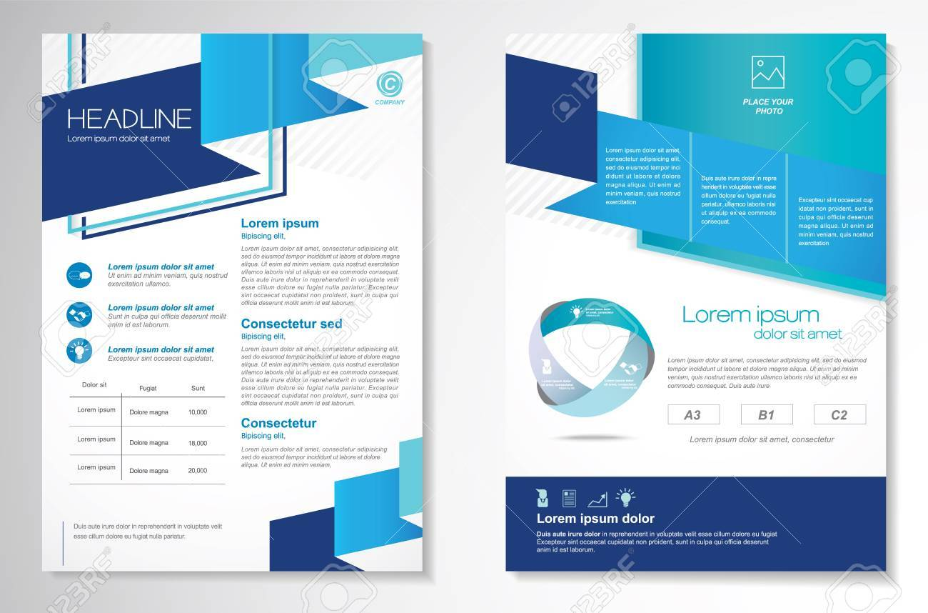 Brochure design Layout template, size A4, Front page and back page, infographics. Easy to use and edit. - 59112714