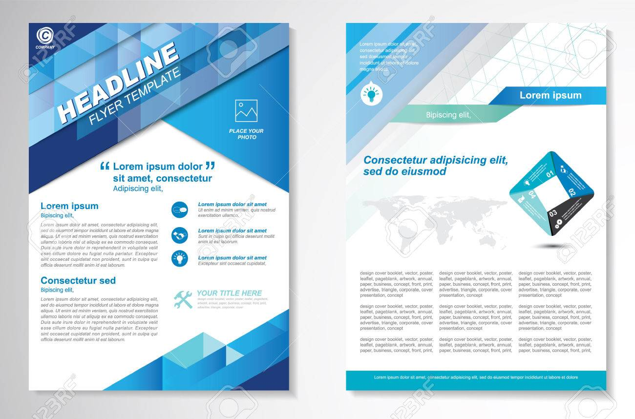 Brochure design Layout template, size A4, Front page and back page, infographics. Easy to use and edit. - 59114122