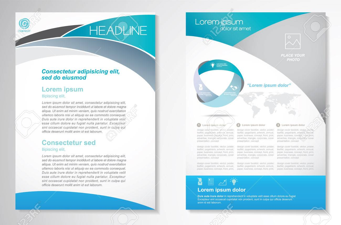 Brochure design Layout template, size A4, Front page and back page, infographics. Easy to use and edit. - 60551656