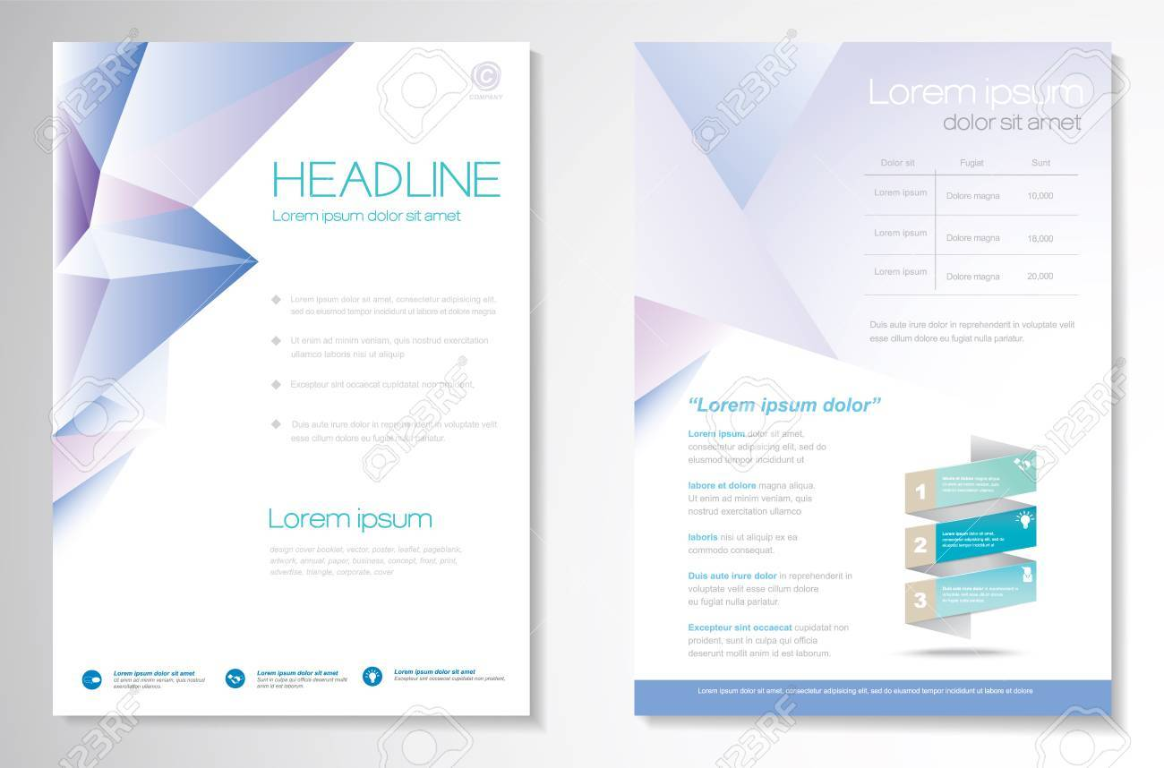 Brochure design Layout template, size A4, Front page and back page, infographics. Easy to use and edit. - 60551658
