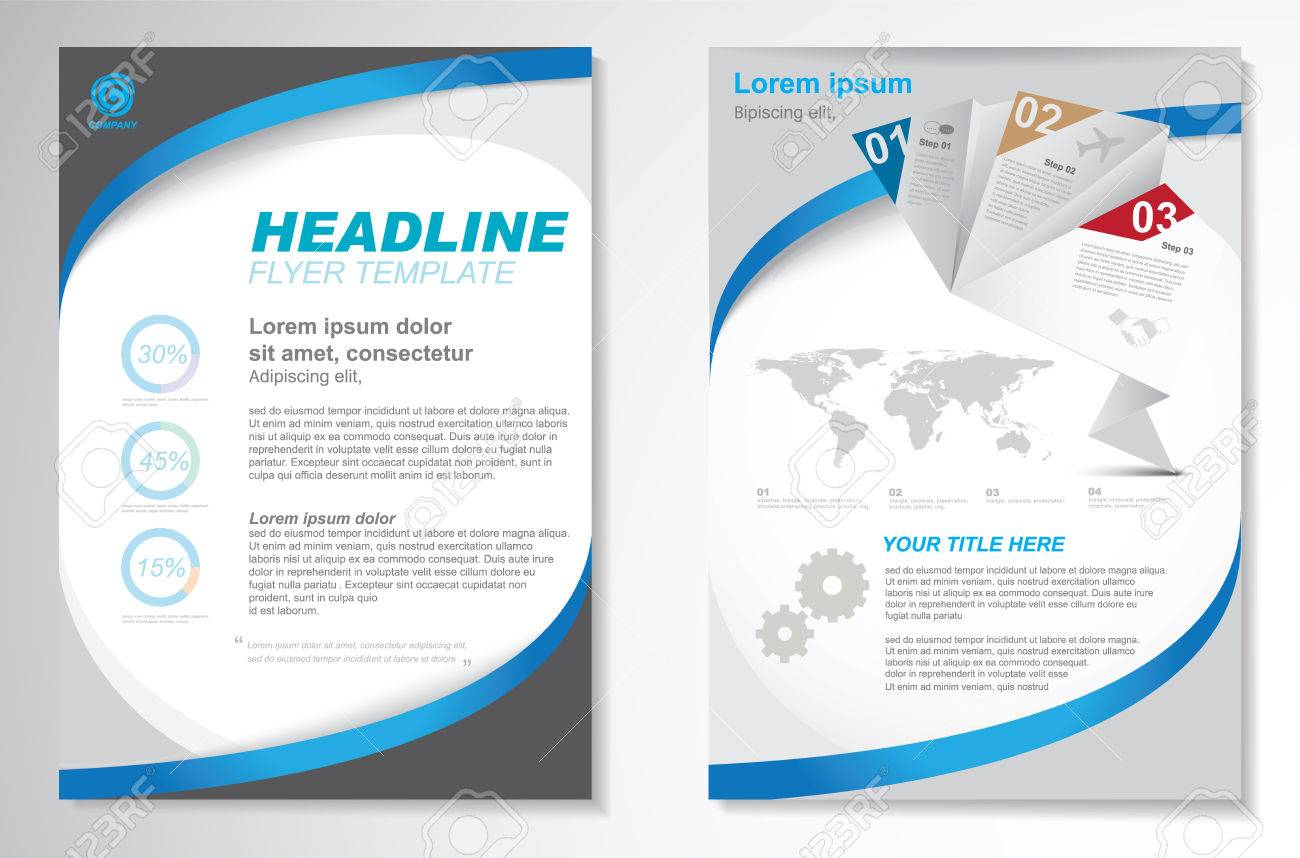 Vector Brochure Flyer design Layout template, size A4, Front page and back page, infographics. Easy to use and edit. - 67216167