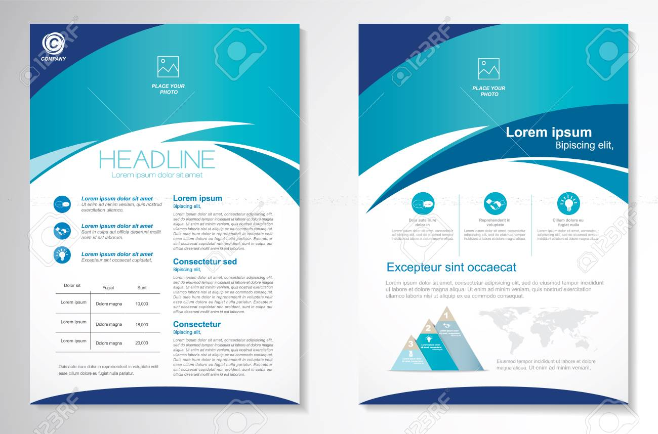 Vector Brochure Flyer design Layout template, size A4, Front page and back page, infographics. Easy to use and edit. - 69148850