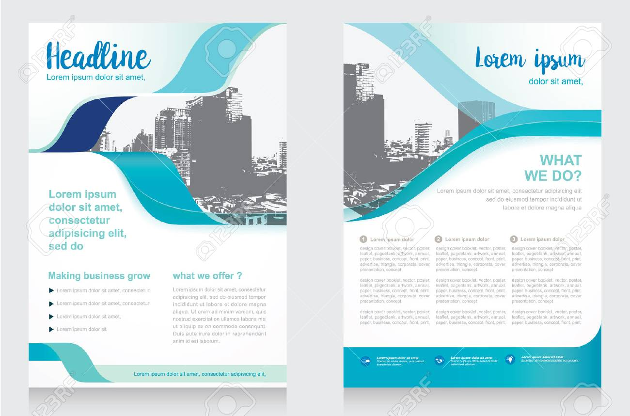 Vector Brochure Flyer design Layout template, size A4, Front page and back page, infographics. Easy to use and edit. - 70037214