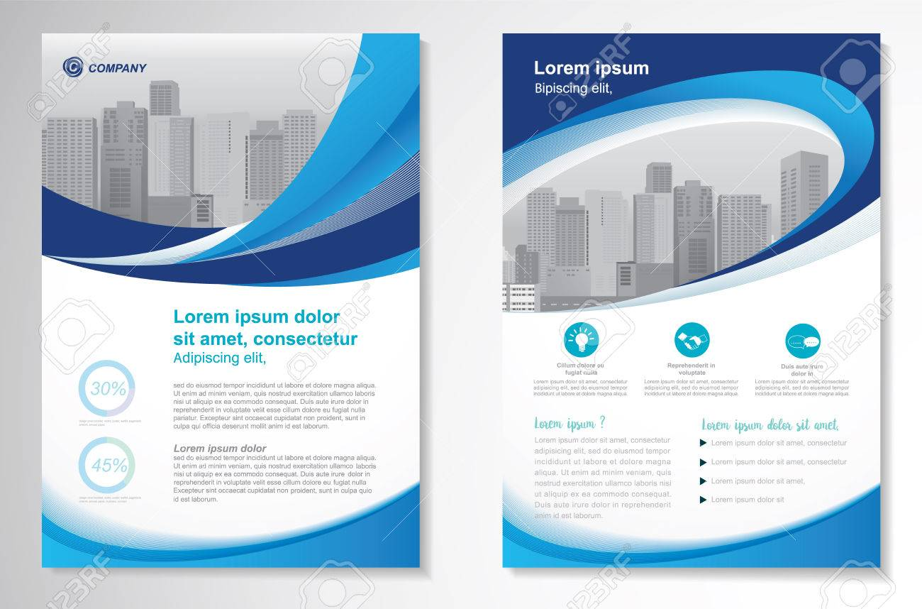 Template vector design for Brochure, Annual Report, Magazine, Poster, Corporate Presentation, Portfolio, Flyer, layout modern with green and blue color size A4, Front and back, Easy to use and edit. - 73198411