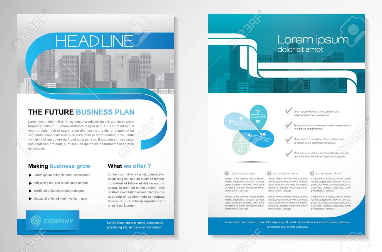 Template vector design for Brochure, Annual Report, Magazine, Poster, Corporate Presentation, Portfolio, Flyer, layout modern with green and blue color size A4, Front and back, Easy to use and edit. - 74470194