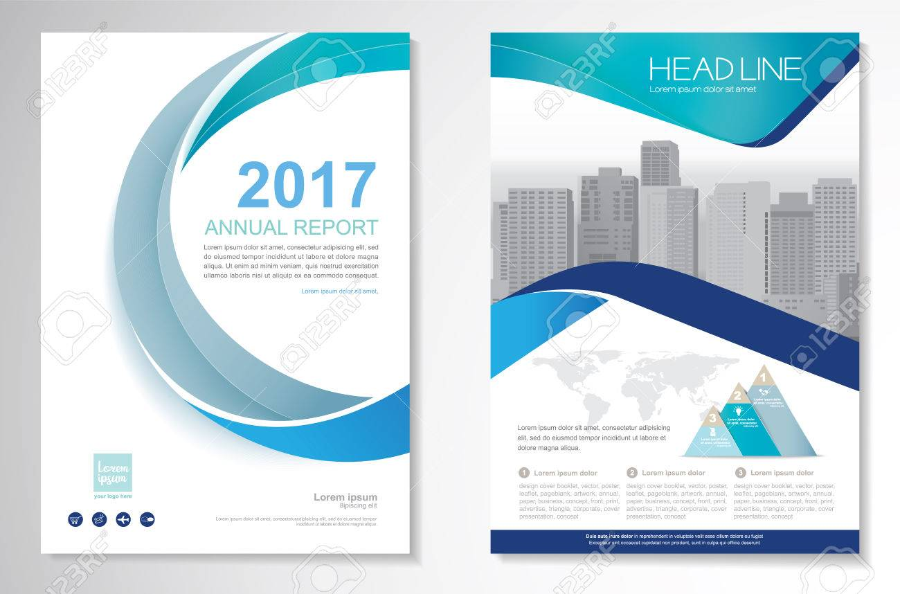 Template vector design for Brochure, Annual Report, Magazine, Poster, Corporate Presentation, Portfolio, Flyer, layout modern with green and blue color size A4, Front and back, Easy to use and edit. - 74473067