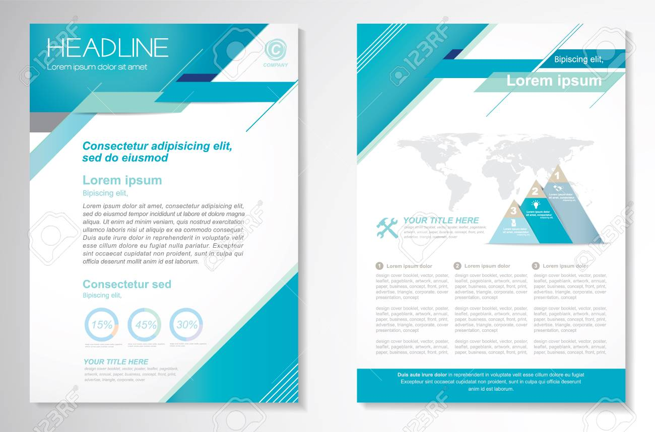 Vector Brochure Layout Template Front Page And Back Page Easy