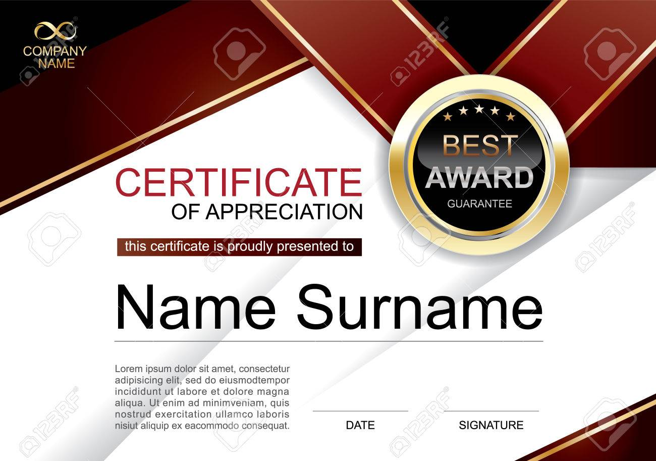 Certificate of appreciation award template clean and modern for certificate of appreciation award template clean and modern for diploma official or different awards vector yelopaper Choice Image