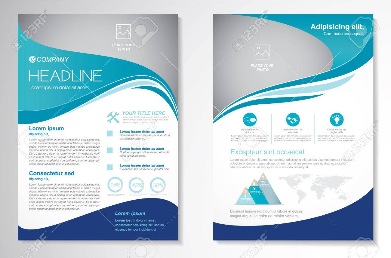 Vector Brochure Flyer design Layout template, size A4, Front page and back page, infographics. Easy to use and edit. - 81769619