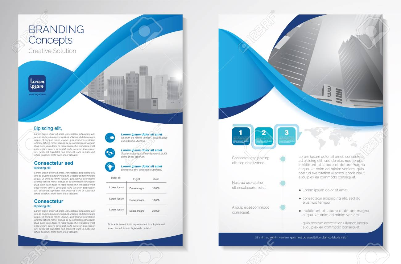 Template vector design for Brochure, Annual Report, Magazine, Poster, Corporate Presentation, Portfolio, Flyer, layout luxury with blue and blue color size A4, Front and back, Easy to use Infinity Concept - 111636128