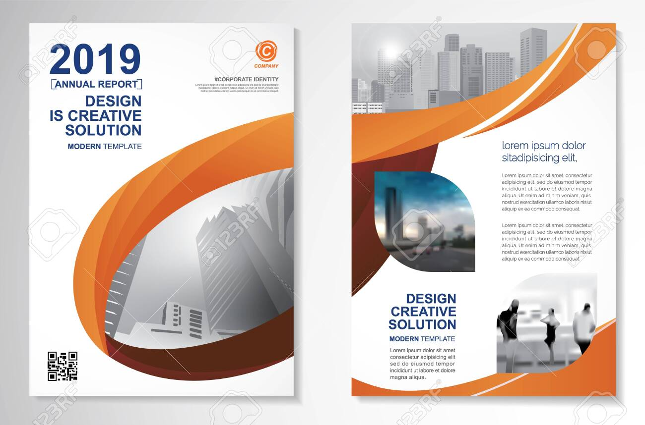 Template vector design for Brochure, AnnualReport, Magazine, Poster, Corporate Presentation, Portfolio, Flyer, infographic, layout modern with orange color size A4, Front and back, Easy to use. - 132296128