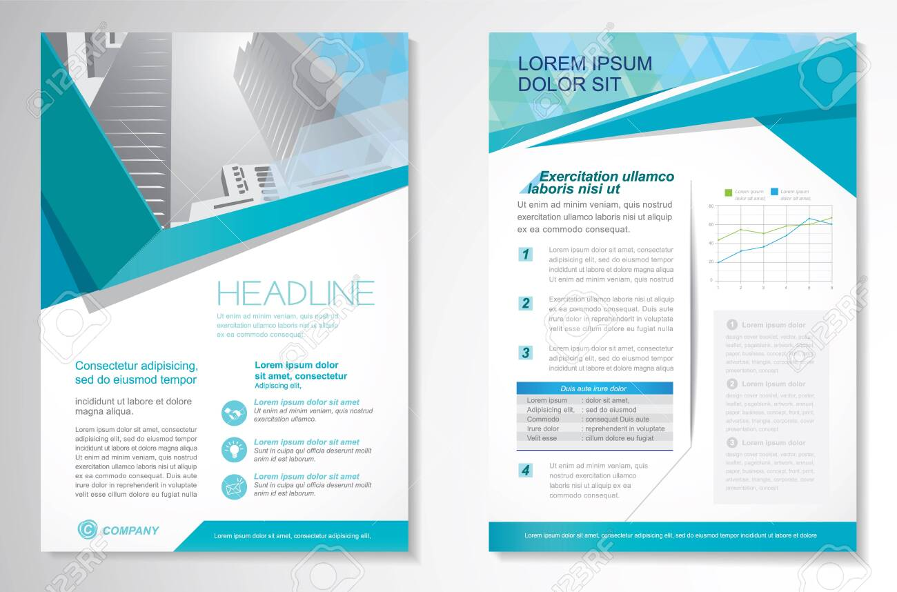Vector Brochure Flyer design Layout template, size A4, Front page and back page, infographics. Easy to use and edit. - 137566099