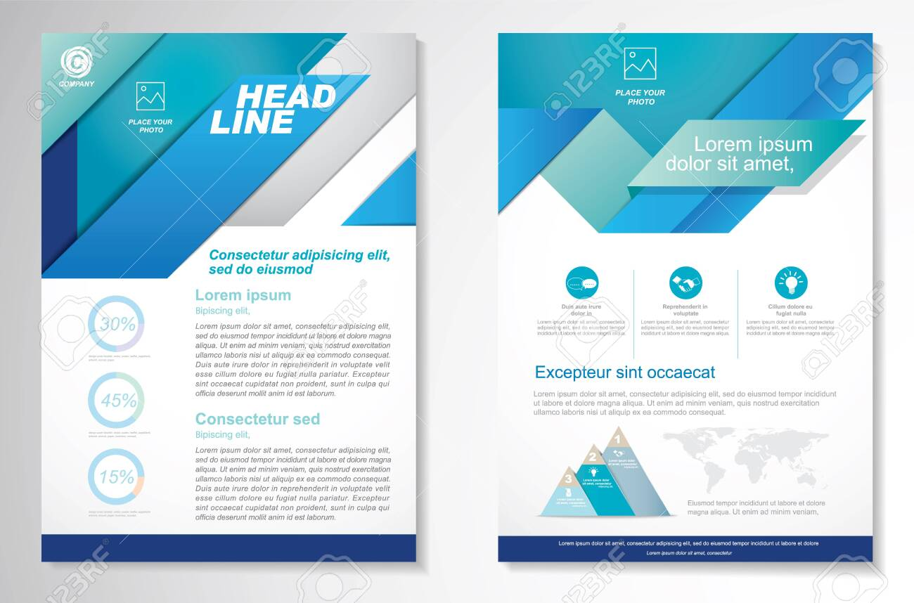 Vector Brochure Flyer design Layout template, size A4, Front page and back page, infographics. Easy to use and edit. - 141020175