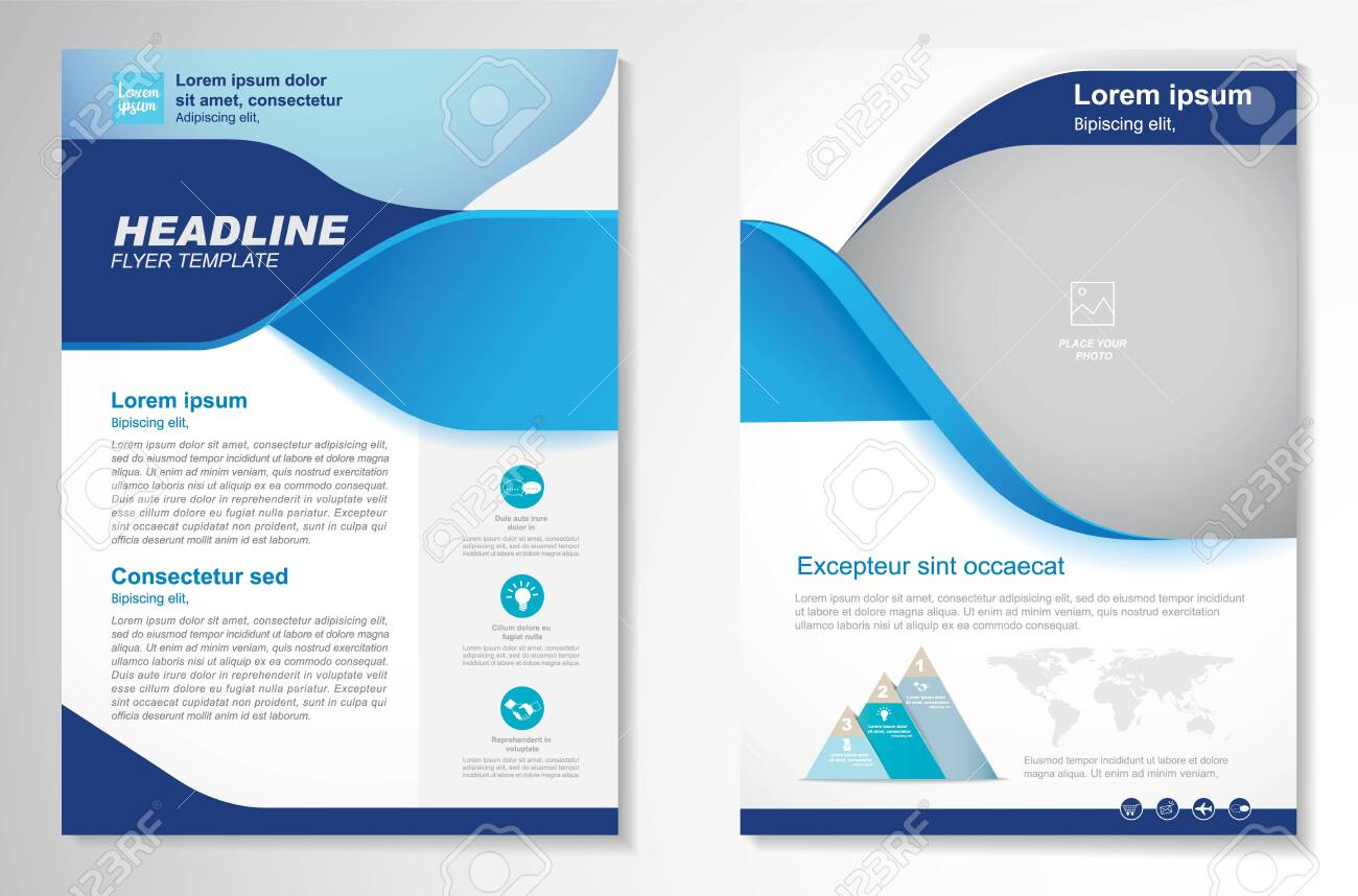 Template vector design for Brochure, AnnualReport, Magazine, Poster, Corporate Presentation, Portfolio, Flyer, infographic, layout modern with blue color size A4, Front and back, Easy to use and edit. - 144033965