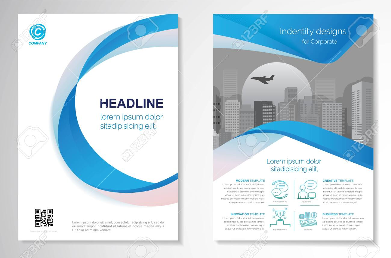 Template vector design for Brochure, AnnualReport, Magazine, Poster, Corporate Presentation, Portfolio, Flyer, infographic, layout modern with blue color size A4, Front and back, Easy to use and edit. - 150852340