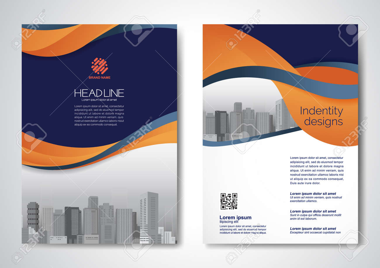 Template vector design for Brochure, AnnualReport, Magazine, Poster, Corporate Presentation, Portfolio, Flyer, infographic, layout modern with blue color size A4, Front and back, Easy to use and edit. - 171284990