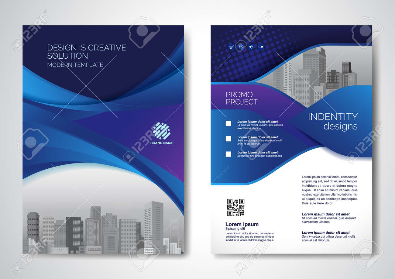 Template vector design for Brochure, AnnualReport, Magazine, Poster, Corporate Presentation, Portfolio, Flyer, infographic, layout modern with blue color size A4, Front and back, Easy to use and edit. - 171623282
