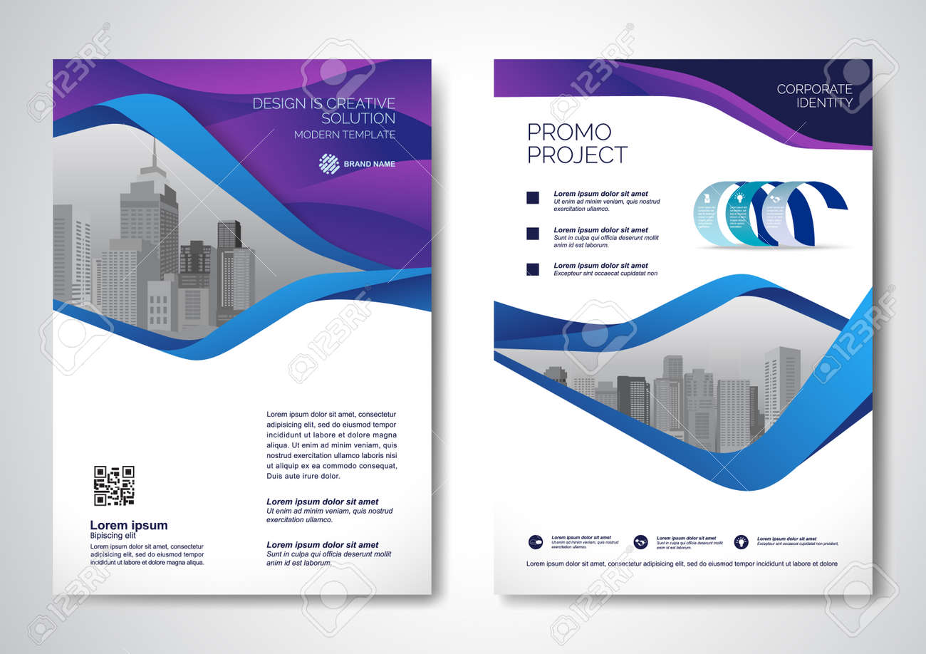 Template vector design for Brochure, AnnualReport, Magazine, Poster, Corporate Presentation, Portfolio, Flyer, infographic, layout modern with blue color size A4, Front and back, Easy to use and edit. - 171623283