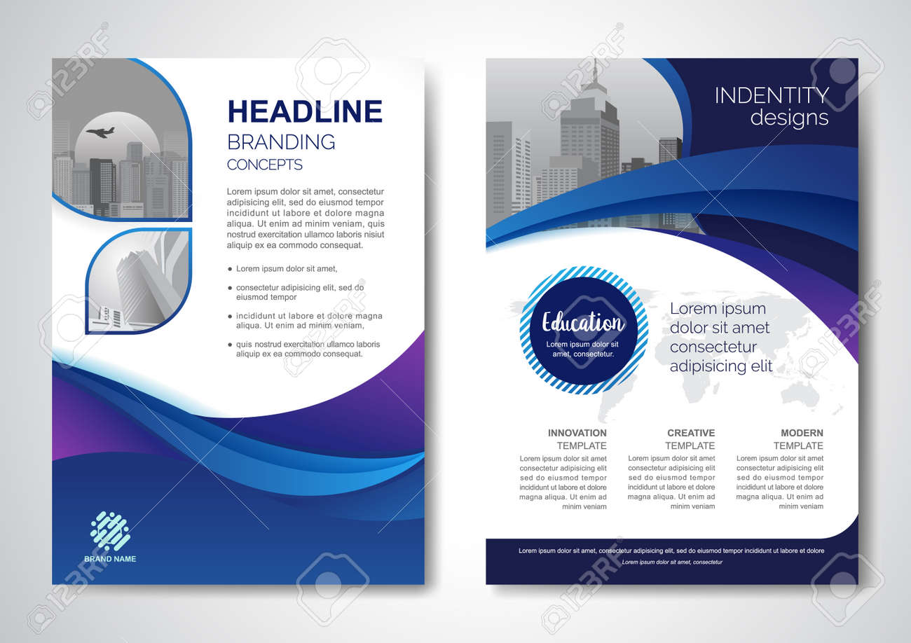 Template vector design for Brochure, AnnualReport, Magazine, Poster, Corporate Presentation, Portfolio, Flyer, infographic, layout modern with blue color size A4, Front and back, Easy to use and edit. - 171623284