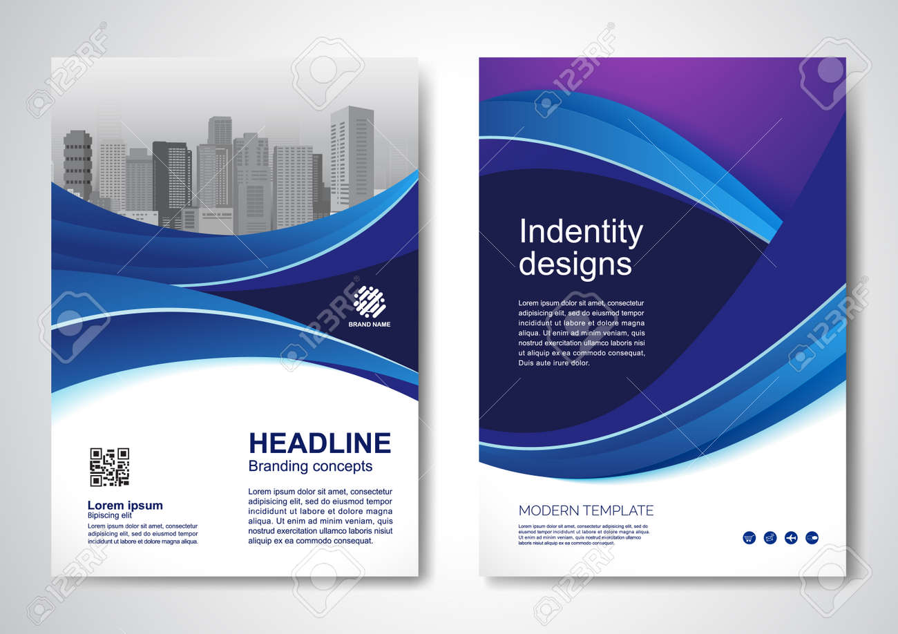 Template vector design for Brochure, AnnualReport, Magazine, Poster, Corporate Presentation, Portfolio, Flyer, infographic, layout modern with blue color size A4, Front and back, Easy to use and edit. - 171958207