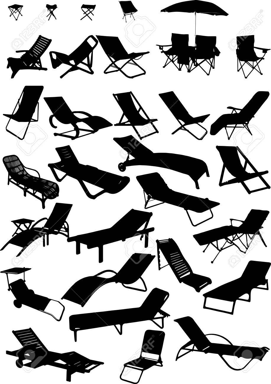 Silhouettes of beach chairs and sun beds. 30 pieces