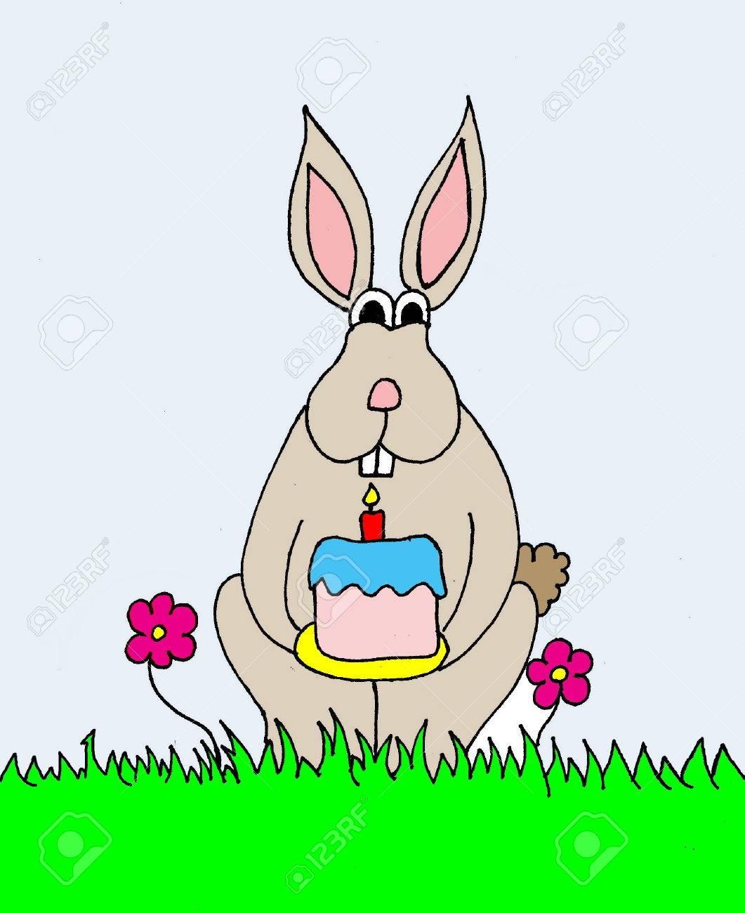 Une Illustration D Un Lapin De Dessin Animé Tenant Un Gâteau D Anniversaire