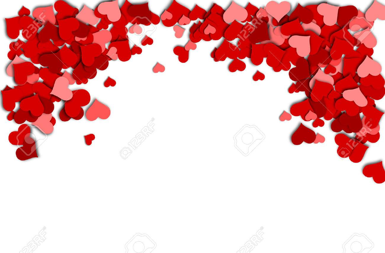 Frame Of Red Hearts On A White Background For A Valentine S Day ...