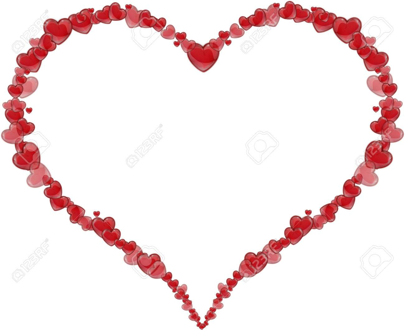 frame heart made of hearts for a valentines day or mothers day on a white background - Mother Frame