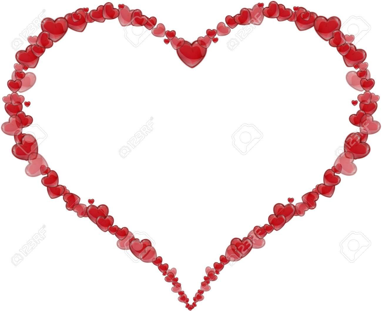 Marco Del Corazón Hecho De Corazones Para El Día De San Valentín O El Día De La Madre En Un Fondo Blanco