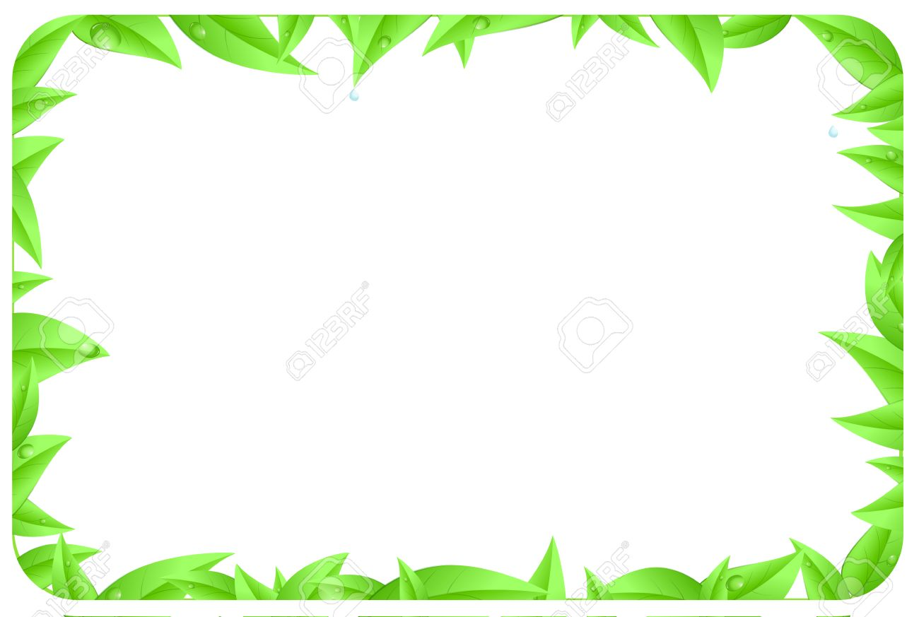 green border made of leaves as design element of page with space text isolated on a