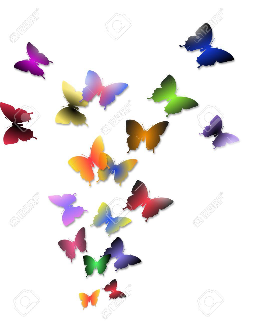 Ilustración De La Bandada De Mariposas De Colores Aislados Sobre Un ...