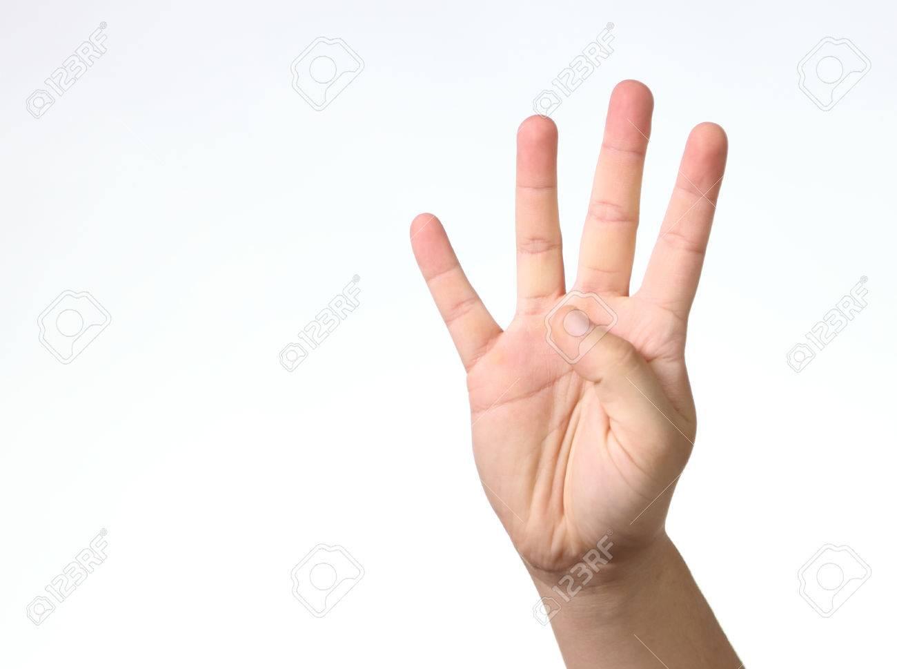 028d22cd97c1 Foto de archivo - Número 4 - ver con los cuatro dedos de la mano aislados  del fondo