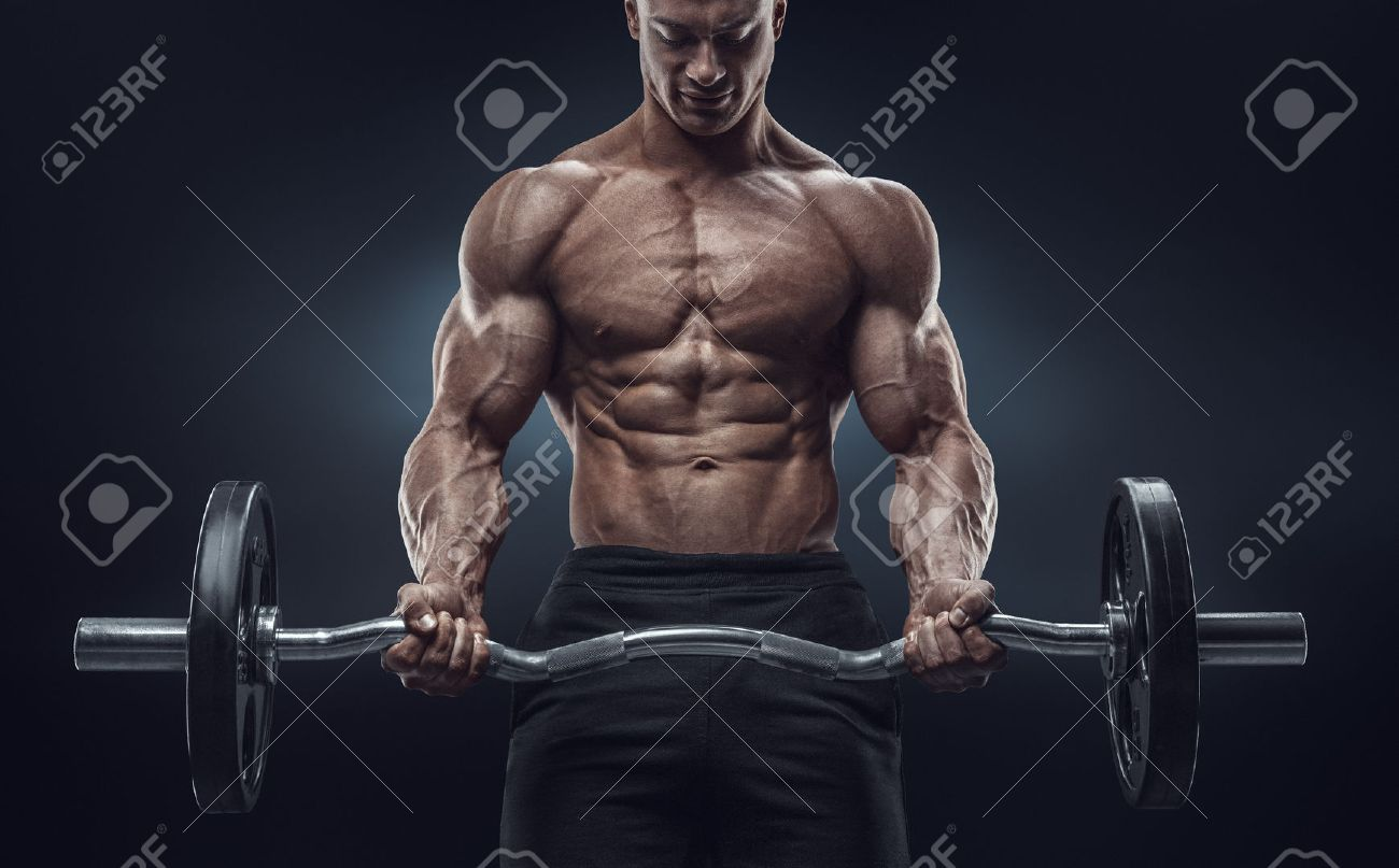 Closeup Portrait Of A Muscular Man Workout With Barbell At Gym Brutal Bodybuilder Athletic