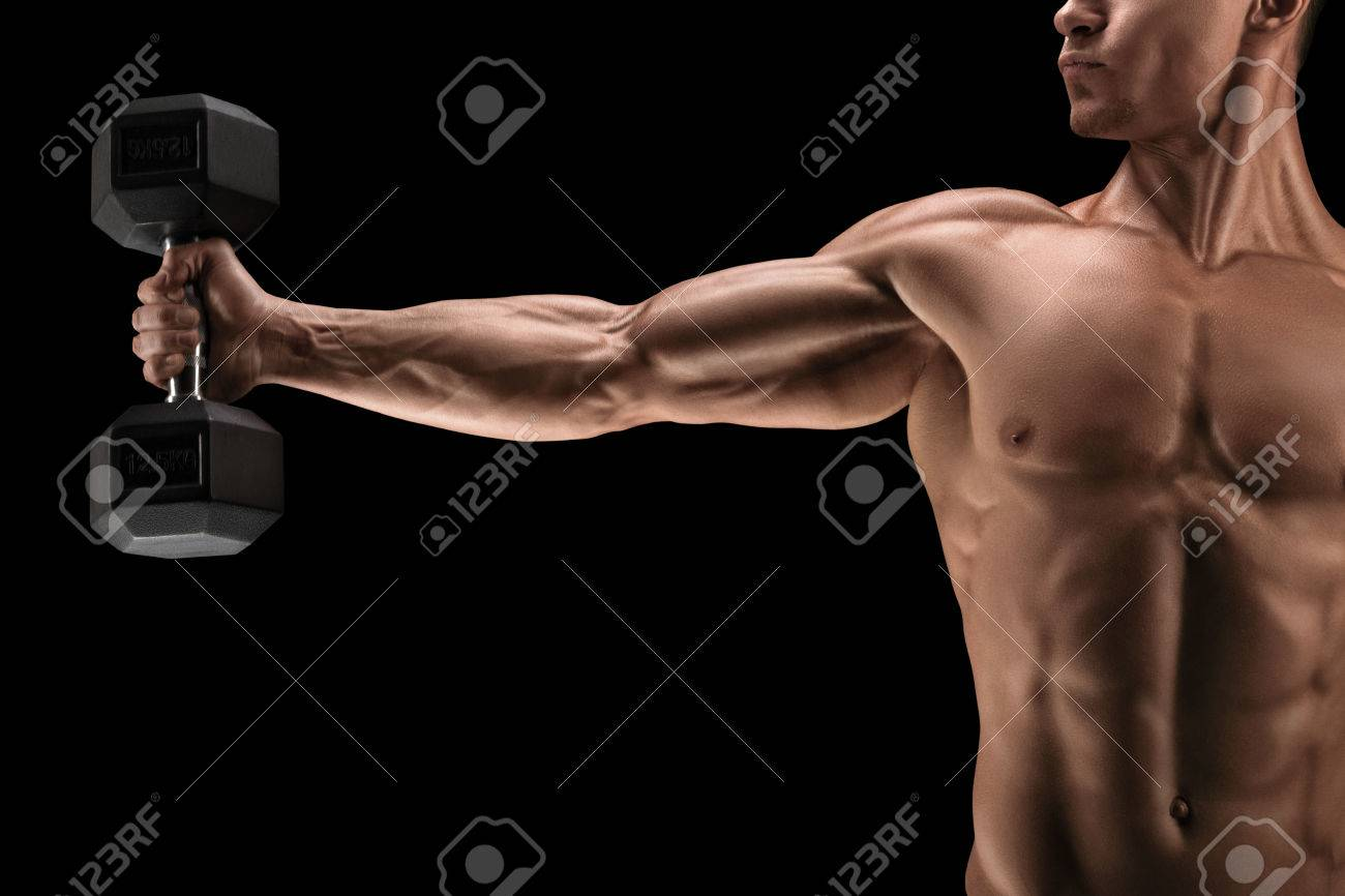 Close-up of strong bodybuilder with six pack, perfect abs, shoulders, biceps, triceps and chest, deltoids muscle. Standard-Bild - 52526845
