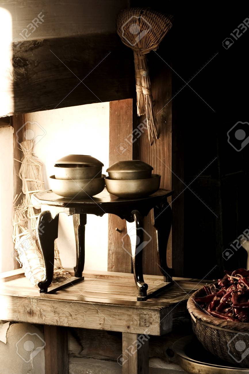 Traditional Culture In South Koreakitchen Dining Table Stock Photo
