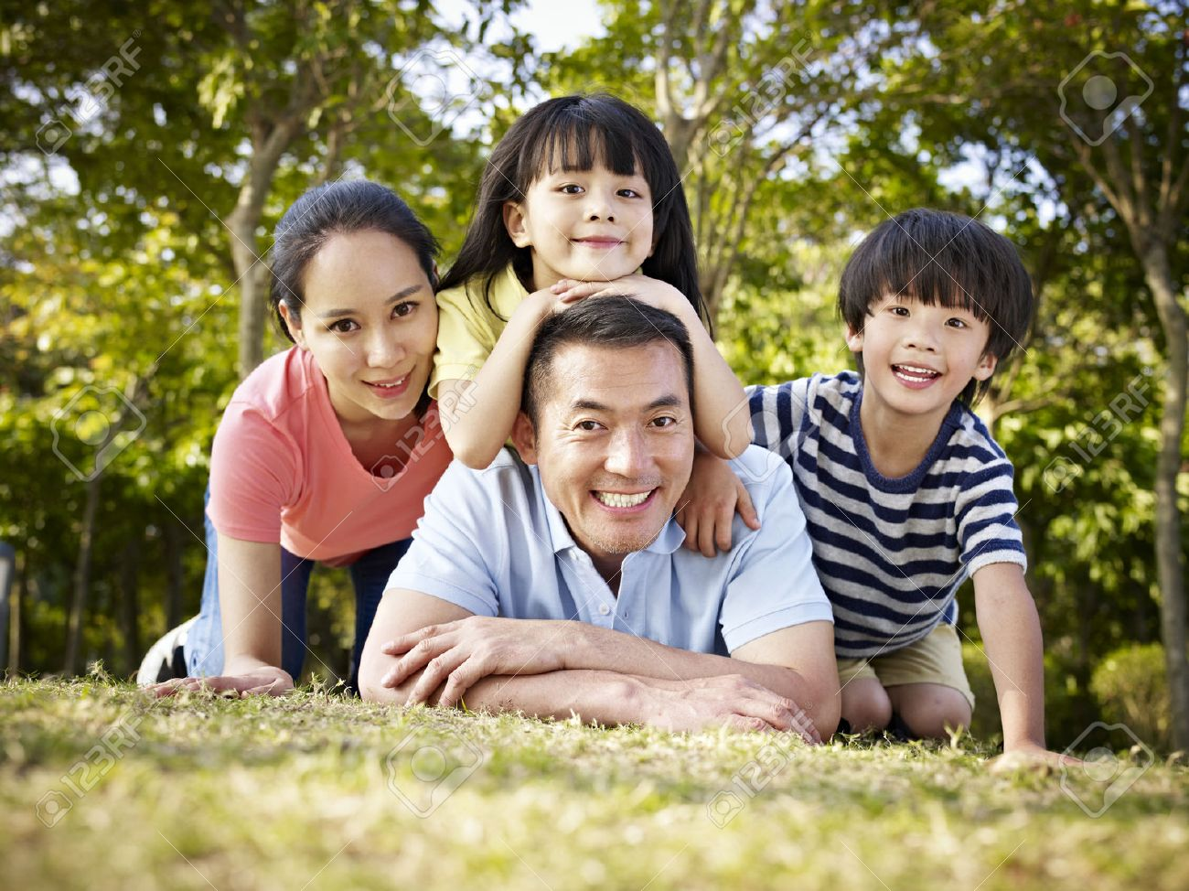 Family Photo Family With Two Children Stock Photos Royalty Free Family With
