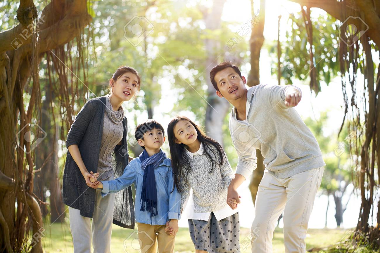 asian family with two children having fun exploring woods in a park. - 114738879
