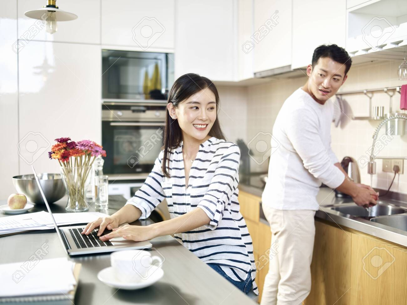 young asian business woman working from home - 132184079