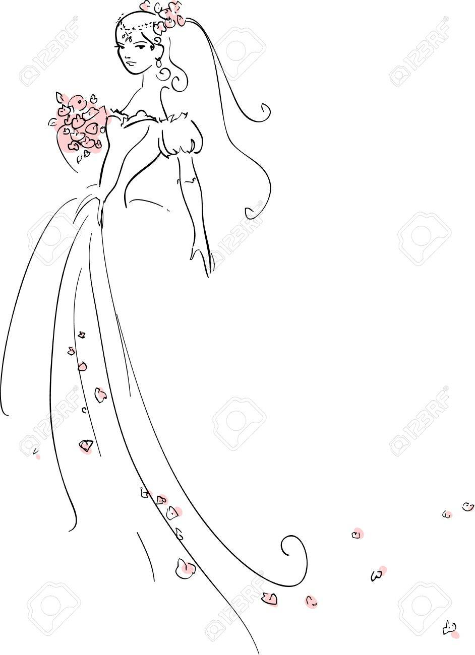 illustration of Beautiful Bride Stock Vector - 9931245