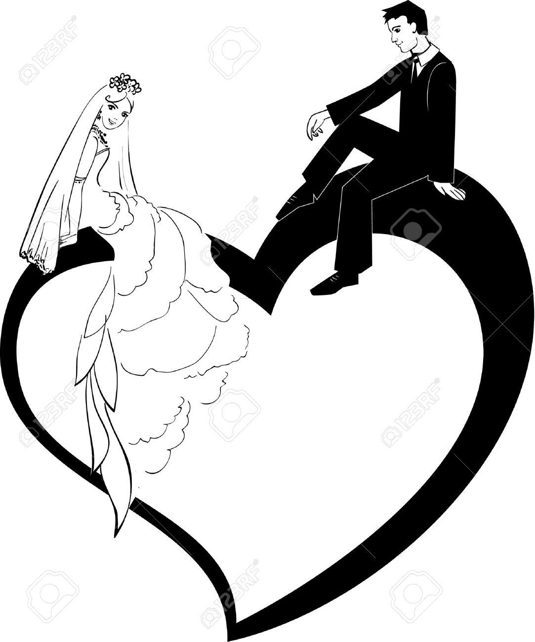 結婚式のカップルのイラスト ロイヤリティフリークリップアート
