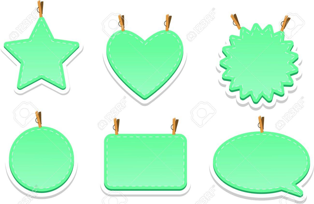 Green web elements with clothes-pegs Stock Vector - 10972065