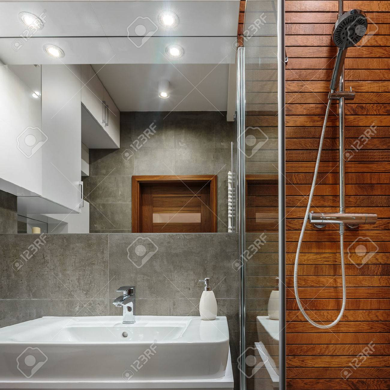 Shower With Wooden Wall As Modern Design In Bathroom Stock Photo   58747005
