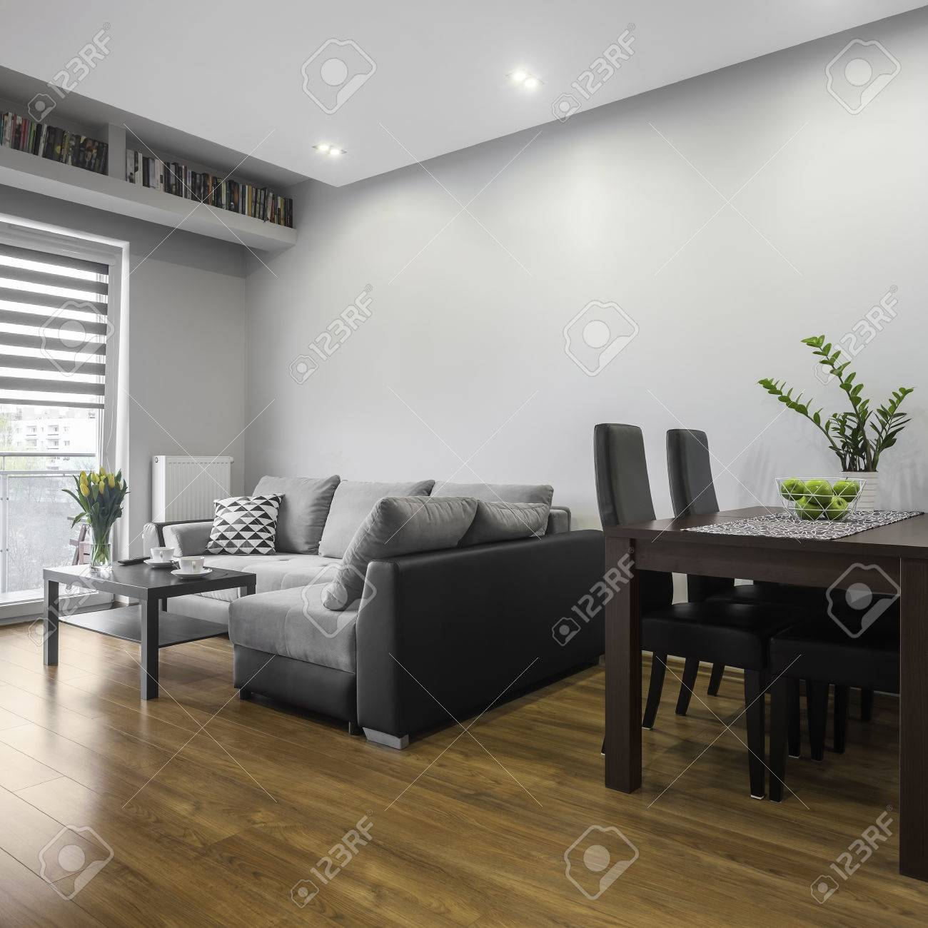 Simple Designed Modern Living Room With Dining Area Stock Photo ...