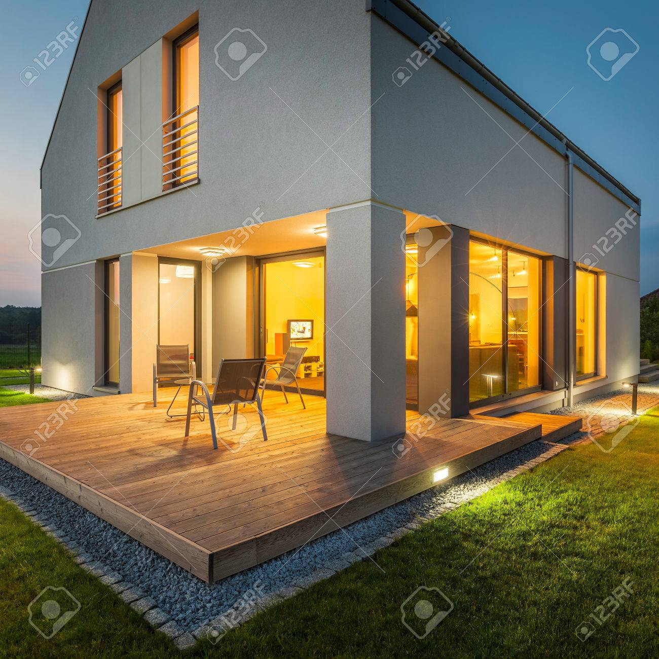 view modern house lights.  House External View Of Modern House At Night With All Lights On Stock Photo   58747090 In View Modern House Lights