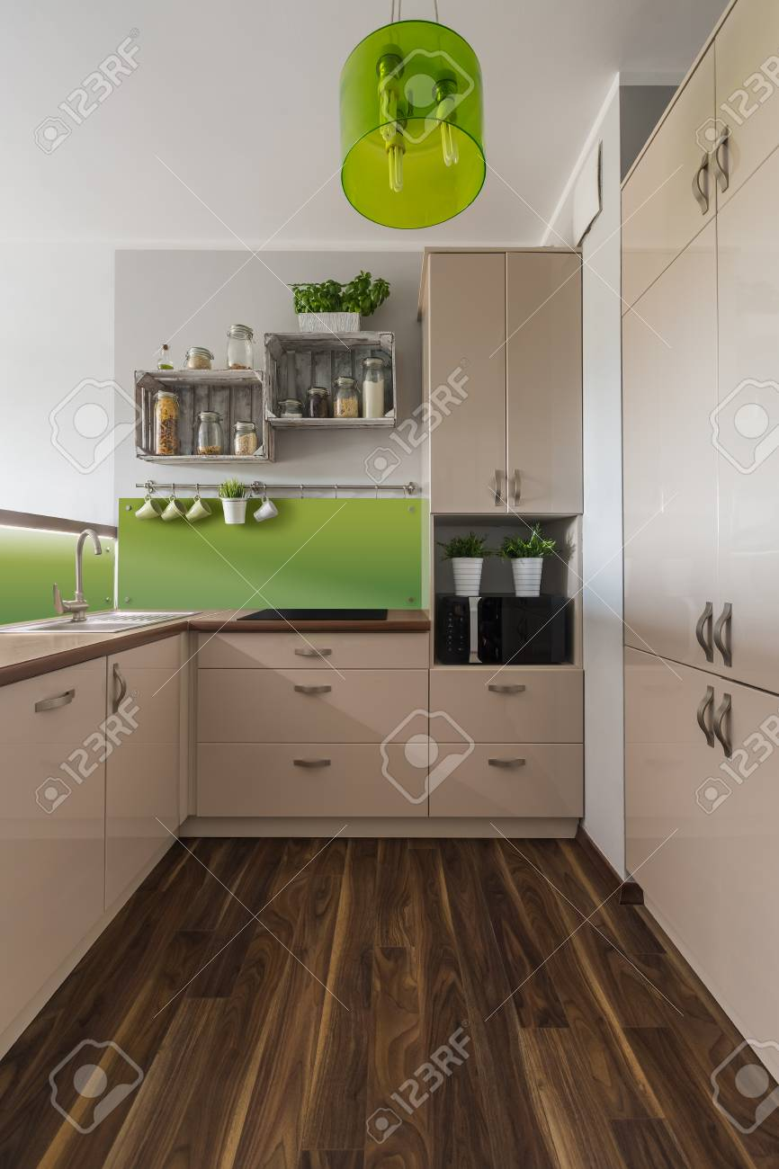 stylish and bright kitchen interior design in beige and green rh 123rf com