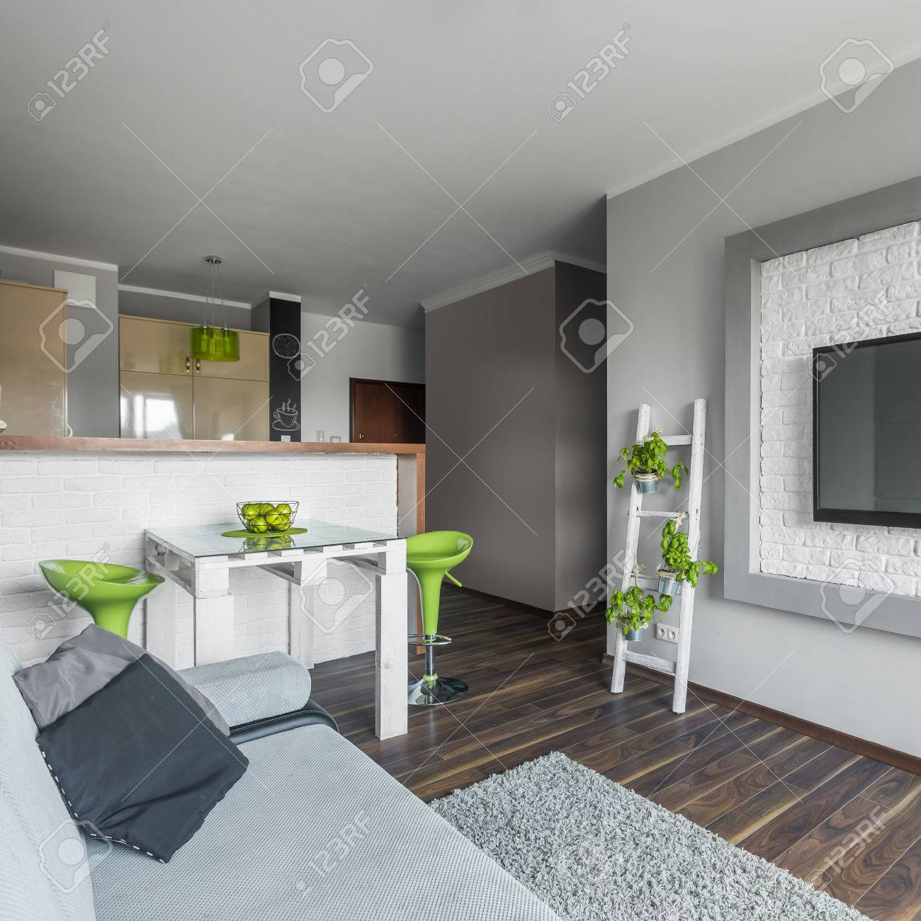 Small but functional modern apartment in grey and white with..