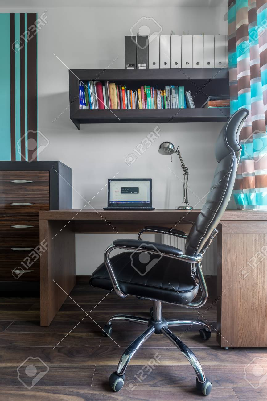 Modern Home Office With Solid Wooden Desk Bookshelf Chair And Stock Photo Picture And Royalty Free Image Image 59566616