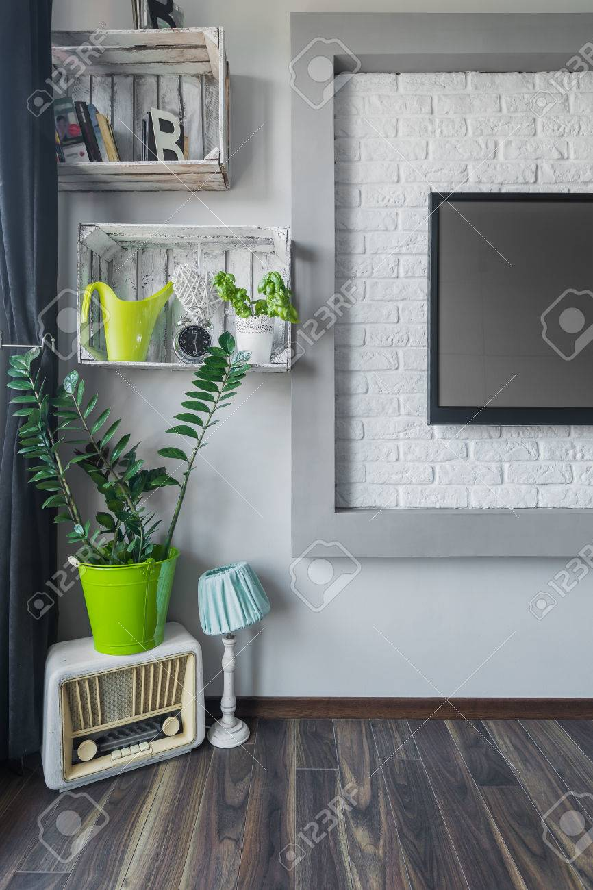 modern interior with decorative brick wall tv diy shelf vintage