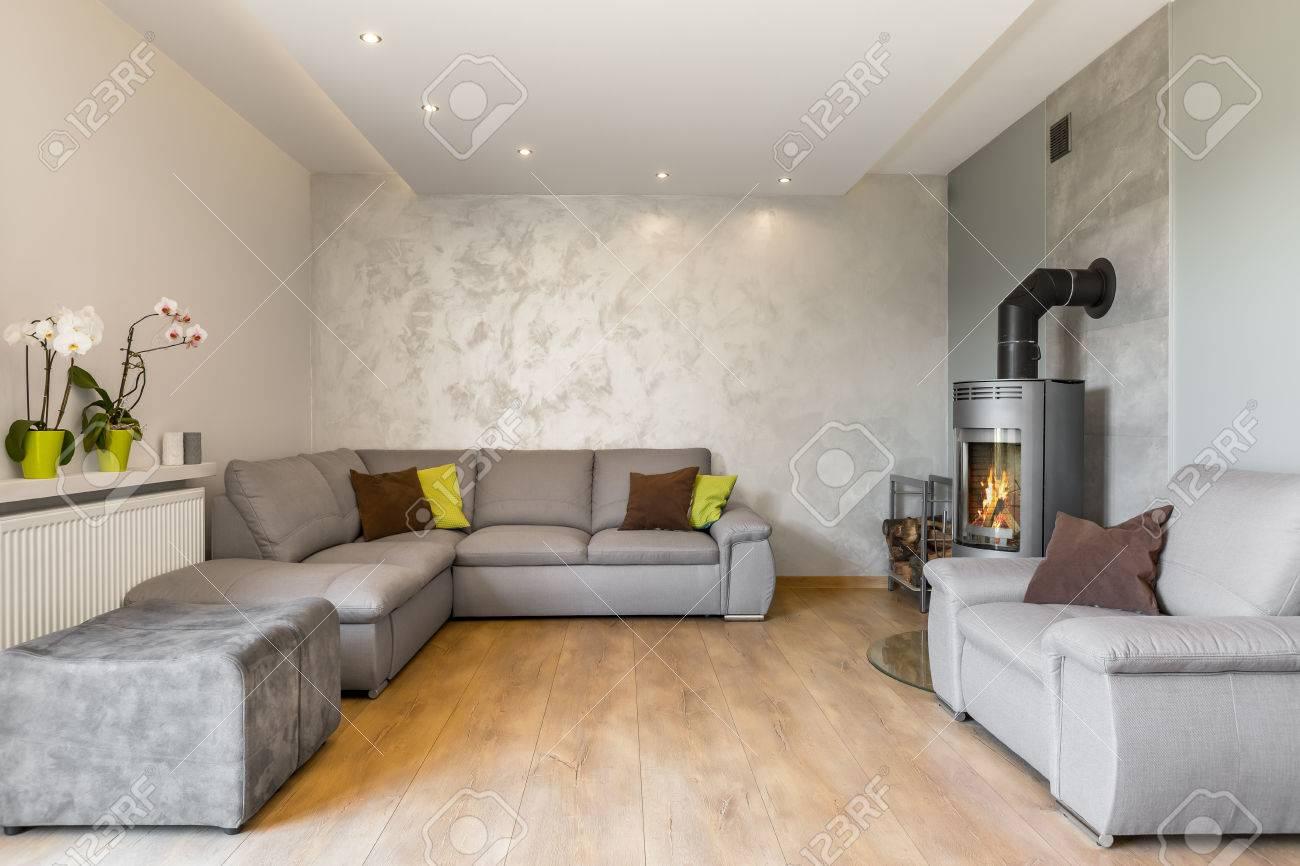 Spacieux salon avec un très grand canapé, une cheminée de style industriel,  des panneaux de plancher en bois et une finition murale décorative